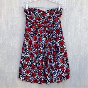 Torrid strapless rose print dress with pockets 0x